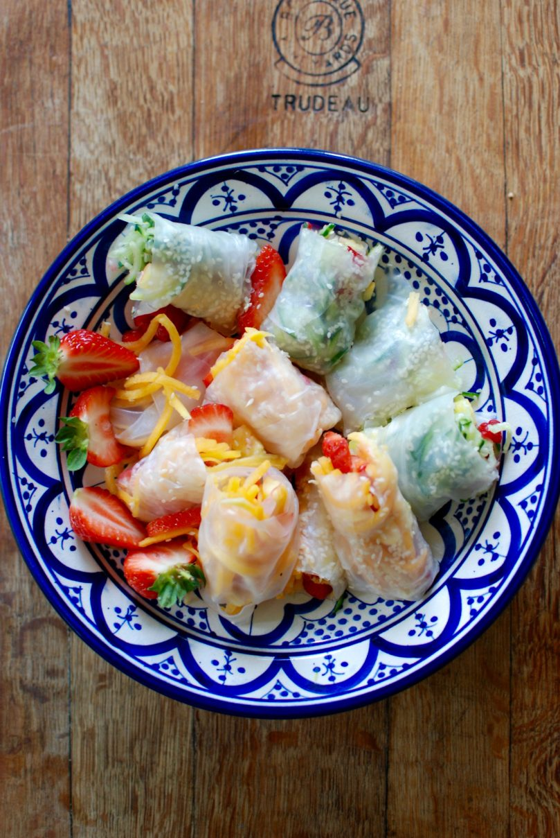 Rainbow Rolls with Mint & Maple Dipping Sauce