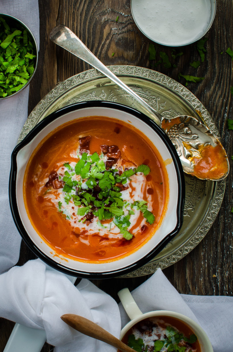 Roasted Romano Pepper and Chorizo Soup