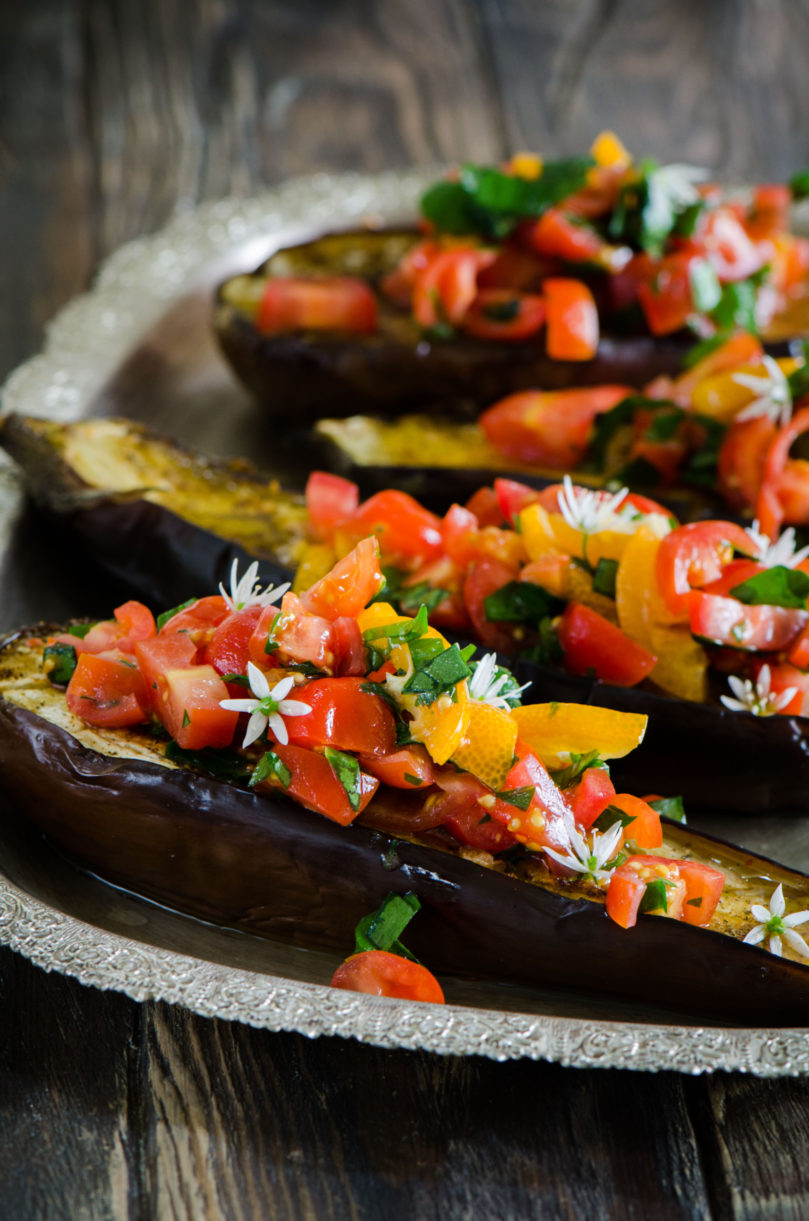 Roasted Aubergine with Tomato, Wild Garlic and Kumquat Salsa