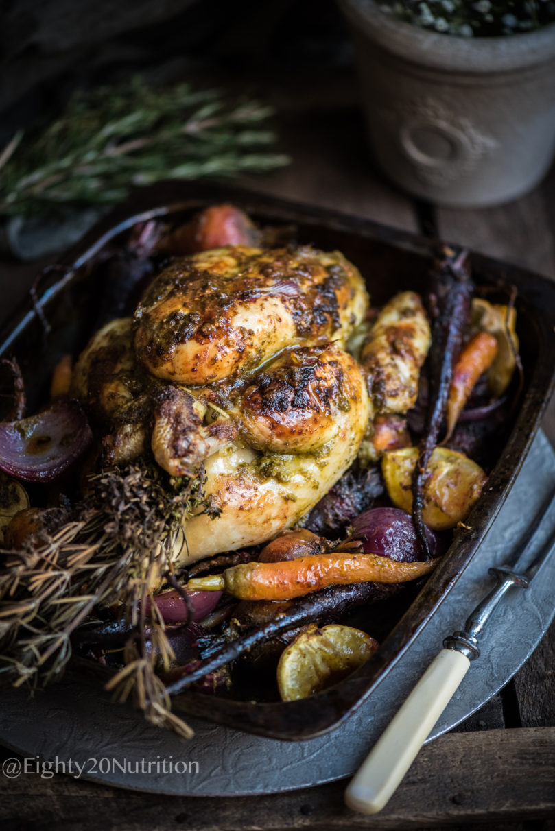 Pesto Roast Chicken with Root Vegetables