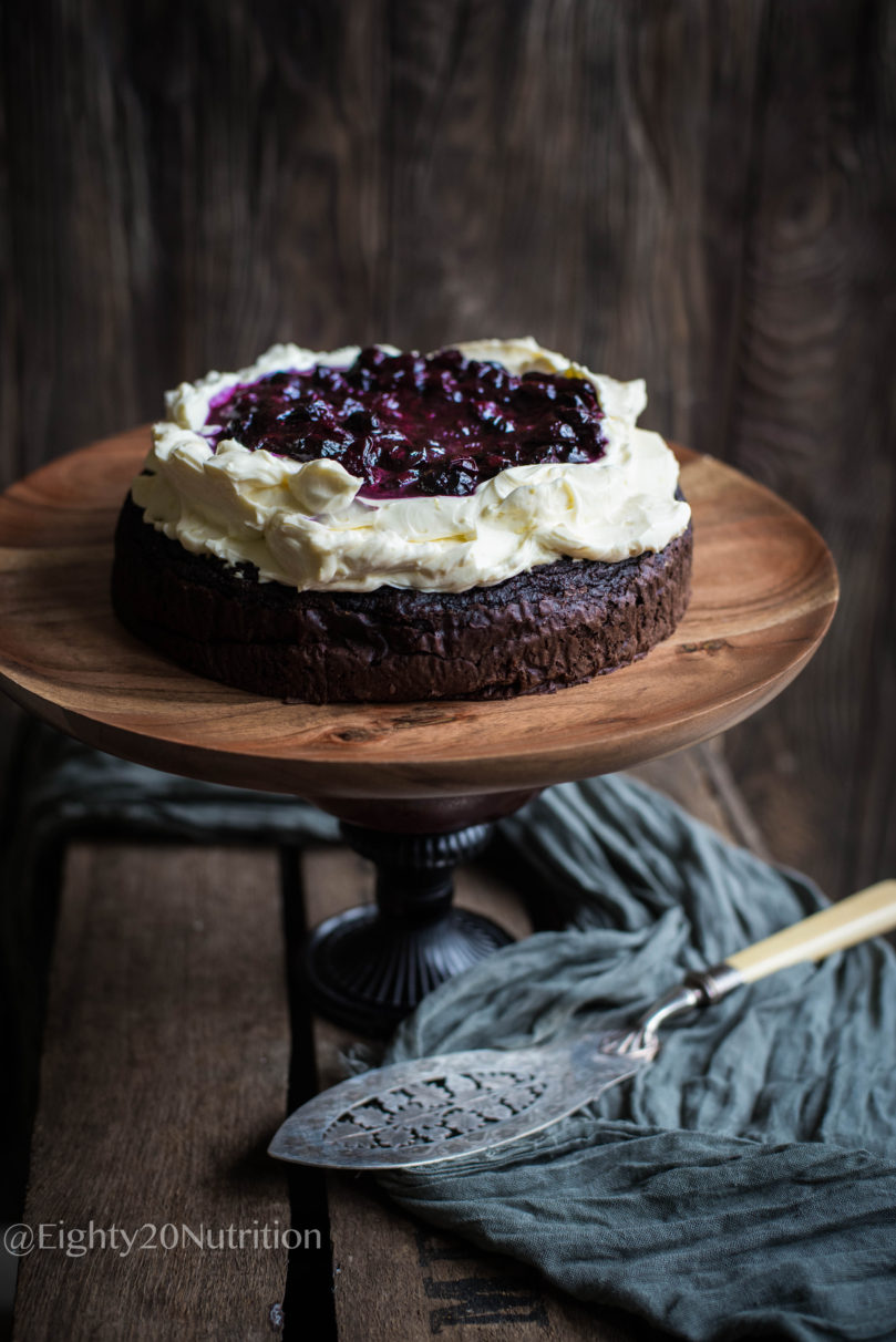 Beetroot Cake with Lemon Cream Cheese and Blueberry Compote
