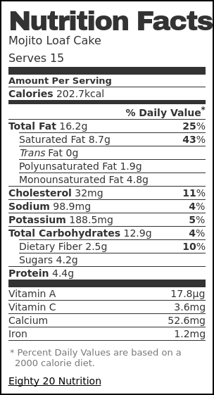 Nutrition label for Mojito Loaf Cake