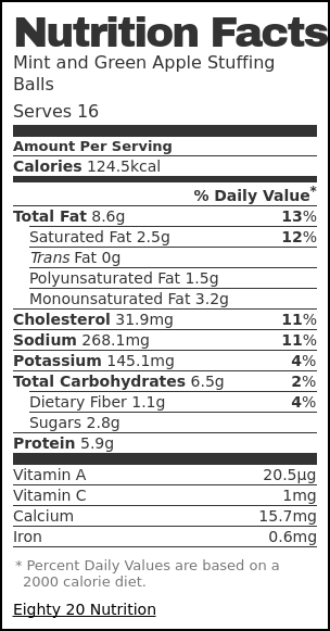 Nutrition label for Mint and Green Apple Stuffing Balls