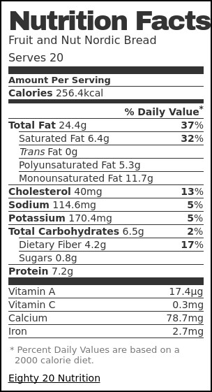 Nutrition label for Fruit and Nut Nordic Bread