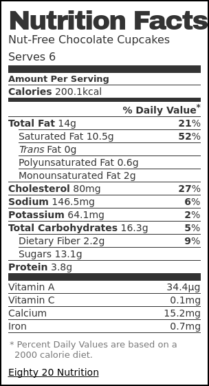 Nutrition label for Nut-Free Chocolate Cupcakes