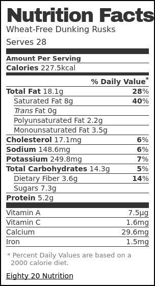 Nutrition label for Wheat-Free Dunking Rusks