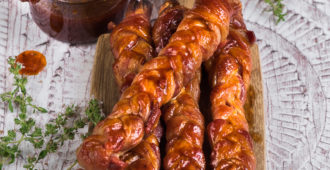 Braided Bacon Sticks with Sticky Whiskey Sauce