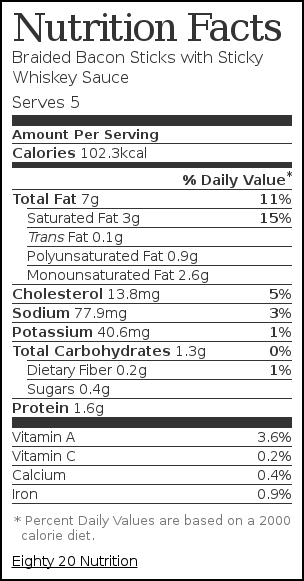 Nutrition label for Braided Bacon Sticks with Sticky Whiskey Sauce