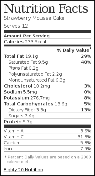 Nutrition label for Strawberry Mousse Cake
