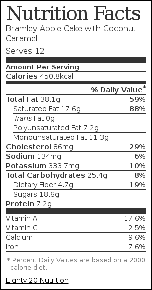 Nutrition label for Bramley Apple Cake with Coconut Caramel
